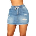 Trendy Drawstring Waist Distressed Ripped Raw Hem Mini Bodycon Blue Denim Skirt