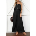 Summer Simple Solid Color Bandeau Top Button Front Sleeveless Wide-Leg Jumpsuits