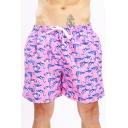 Guys Hot Fashion Pink Flamingo Printed Drawstring Waist Quick Dry Casual Swimwear Board Shorts