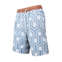 New Stylish Geometric Printed Mens Beach Swimwear Casual Swim Trunks with Liner