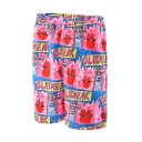 Cute Funny Cartoon Red Lip Graffiti Print Guys Pink Beach Swimwear Swim Shorts with Liner
