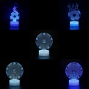 Touch Sensor 7 Color LED Night Light Gift Home Decor Soccer Pattern 3D Bedside Light
