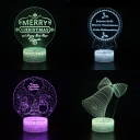 Christmas Element Pattern 3D Night Light 7 Color Changing LED Night Lamp with Touch Sensor for Home Decor