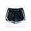 Trendy Contrast Trim Elastic Waist Chic Velvet Dolphin Shorts