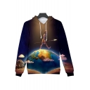 Unique Funny Galaxy Figure On Earth Printed Long Sleeve Casual Drawstring Hoodie
