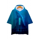 New Trendy King of the Monsters Short Sleeve Blue Hooded Loose Fit T-Shirt