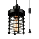 Antique Style Black Ceiling Light Cylinder Shape 1 Light Metal Plug In Pendant Light Fixture in Black