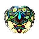 Tiffany Style Abstract Pattern Wall Lamp Glass Single Light Colorful Sconce Light for Cafe Bedroom