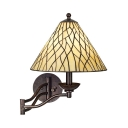 Rustic Cone Shade Sconce Lamp Frosted Glass 1 Light White Swing Arm Wall Light for Hallway Stair