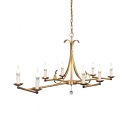 Antique Style Candle Shade Island Pendant 8 Lights Metal Light Fixture in Antique Gold/Aged Silver for Living Room