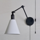 Metal Cone Shade Sconce Light 1 Light Simple Style Adjustable Wall Lamp for Kitchen Living Room