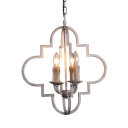Candle Shape Dining Room Chandelier Metal and Resin 4 Lights Antique Style Pendant Lighting