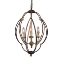 Metal Cage Candle Shape Chandelier 4 Lights Antique Style Pendant Light in Rust for Coffee Shop Restaurant