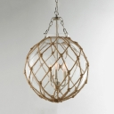 Beige Globe Shade Pendant Light 3 Lights Antique Style Metal and Glass Chandelier for Bedroom Dinging Room
