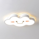 Creative White Cloud Flush Mount Light Acrylic Warm Lighting/Stepless Dimming Ceiling Light for Kindergarten