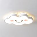 Creative White Cloud Flush Mount Light Acrylic Warm Lighting/Stepless Dimming Ceiling Light for Kindergarten
