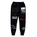 Mens Cool Letter Stripe Elastic Waist Cotton Black Loose Sport Joggers