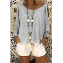 Hot Fashion Solid Color Long Sleeve Round Neck Batwing Relaxed T-Shirt