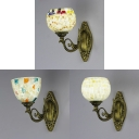 Restaurant Shop Bowl Shade Wall Lamp Glass and Shell Rustic Style Colorful/White Sconce Light