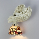 Floral Wall Light 1 Light Stained Glass Resin Tiffany Style Wall Lamp with Angel Decoration for Bedroom
