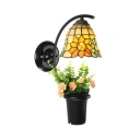 Rustic Style Sunflower Wall Light with Plant Decoration Stained Glass Sconce Light for Hallway