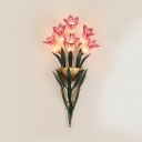 Romantic Tulip Bouquet Wall Lamp 6/10 Lights Pink Glass Metal Sconce Light for Bedroom Living Room