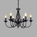 Classic Candle Hanging Light Metal 6/8 Lights Black/White Chandelier for Dining Room Restaurant