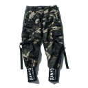 Fashion Green Camouflage Letter Cuff Zip Pocket Ribbon Design Cotton Jogger Cargo Pants for Men