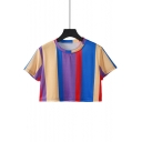 Colorful Color Block Striped Round Neck Short Sleeve Cropped Tee
