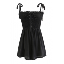 Womens Summer Basic Simple Plain Bow-Tied Straps Lace-Up Front Casual Romper