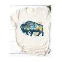Bison Printed Round Neck Short Sleeve Beige Basic T-Shirt