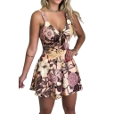 Womens New Stylish Floral Printed Bow-Tied Cutout V-Neck Sleeveless Casual Romper