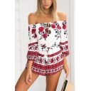 Women's Fashion Red Floral Printed Off the Shoulder Drawstring Waist Summer Beach Romper