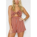 New Fashion Vertical Stripe Bow-Tied Cutout Strap Beach Romper Playsuit for Women