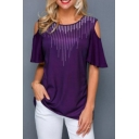 Trendy Hot Drilling Cold Shoulder T-Shirt for Women