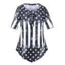 Trendy Stripe and Star Flag Print Lace up Asymmetric Hem Tee for Women