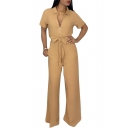 Women's New Trendy Solid Color Short Sleeve Zipper Front Bow-Tied Waist Jumpsuit