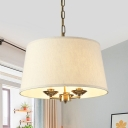 Bedroom Study Tapered Shade Chandelier Metal and Fabric 3 Lights Rustic Style Hanging Light