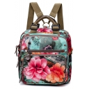 Stylish Green and Red Floral Printed Large Capacity Satchel Backpack 26*11*27 CM