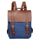 Trendy Retro Color Block Canvas Satchel Backpack School Bag