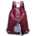 Popular Solid Color Rivet Detail PU Leather College Bookbag Casual Backpack 25*13*30 CM