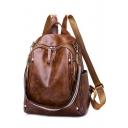 Popular Retro Stripe Strap Brown Shoulder Bag Backpack 25*10*34 CM