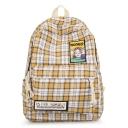 Trendy Plaid Pattern Figure Letter Patchwork School Bag Backpack 28*12*40 CM