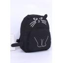 Cute Cartoon Cat Printed Canvas School Bag Backpack for Junior 29*13*38 CM