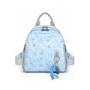 Elegant Floral Pattern Zipper Shoulder Bag Satchel Backpack for Women 25*18*26 CM