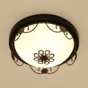 Frosted Glass Dome Ceiling Lamp Living Room 3/4 Lights Vintage Style Flush Mount Light