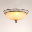 3 Lights Dome Flush Light European Style Fluted Frosted Glass Ceiling Lamp for Restaurant