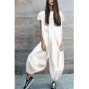 Women's Summer Simple Plain Round Neck Short Sleeve Wide Leg Pants Linen Jumpsuits