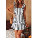 Fashion Grey and White Stripe Printed Ruffled Hem Mini Dress for Women