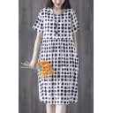 Summer Simple Polka Dot Printed Round Neck Short Sleeve Midi Linen Babydoll Dress